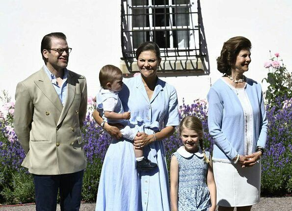 Prince Daniel of Sweden, CP Victoria of Sweden holding Prince Oscar, Princess Estelle, and Queen Silvia of Sweden. July 14 2017
