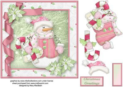 Snowman Gifts Decoupage Card Front