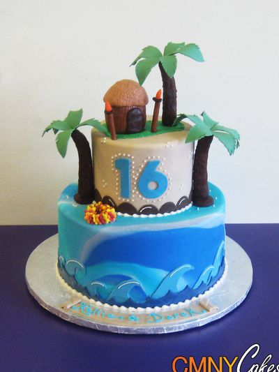 Tropical Themed Bridal Shower Cakes Sweet 16 Hawaiian
