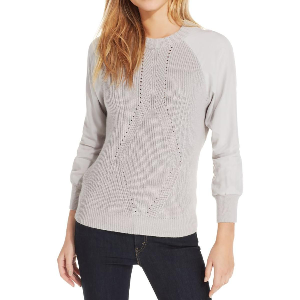 Calvin Klein Jeans Womens Mixed Media Crew Neck Pullover Sweater