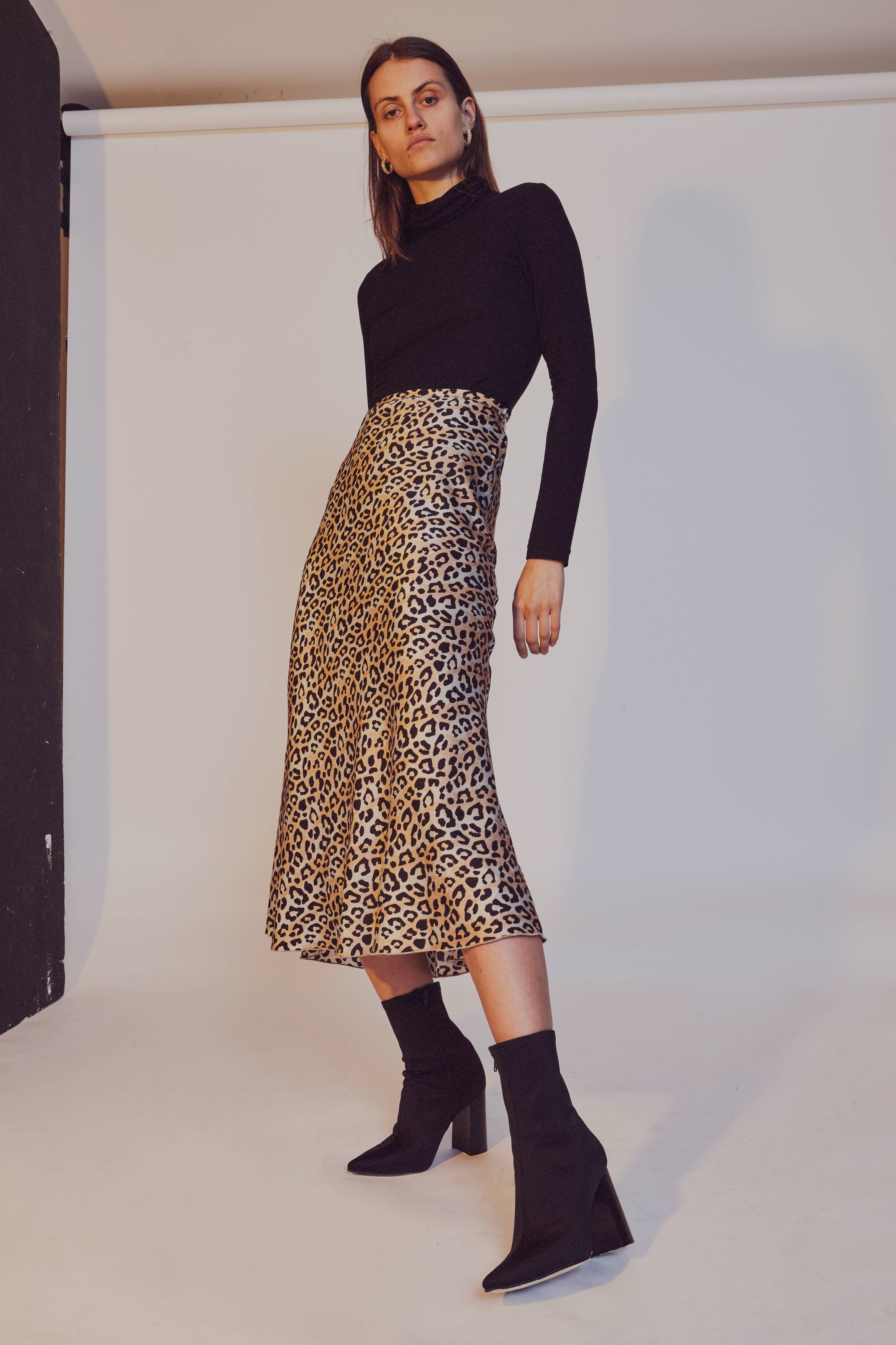 7f694c4d5 Back in Stock Ribbed Skivvy in Black and Leopard Print Ellie Silk Midi Skirt  by Chosen