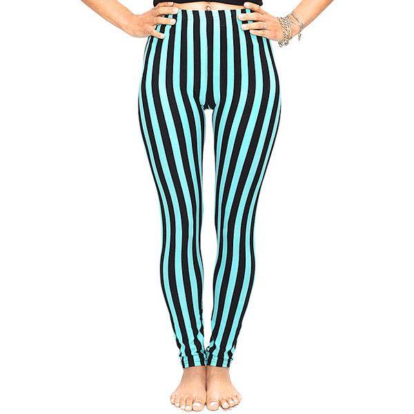 Design 26 Blue & Black Stripe Leggings ($20) ❤ liked on Polyvore featuring pants, leggings, patterned pants, print leggings, print pants, stretch trousers and legging pants