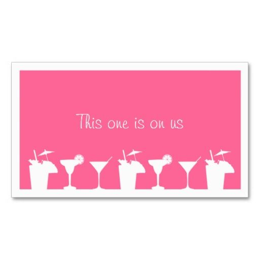 Pink Cocktail Wedding Event Custom Drink Ticket Business Card