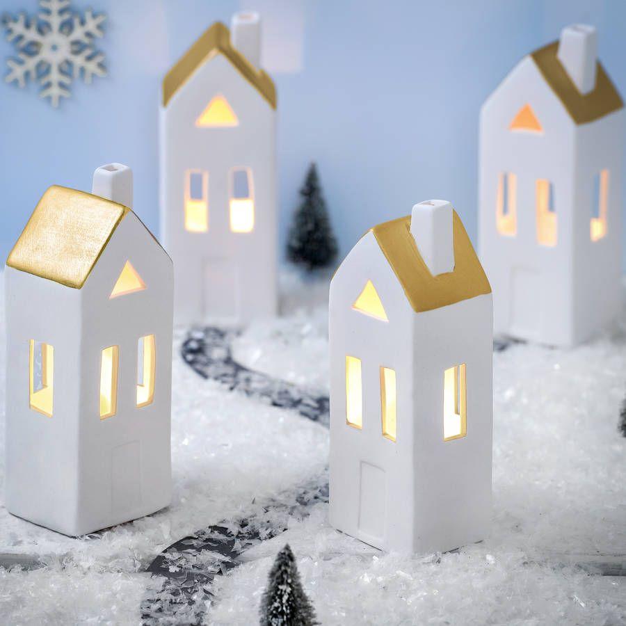 Ceramic Led White And Copper House