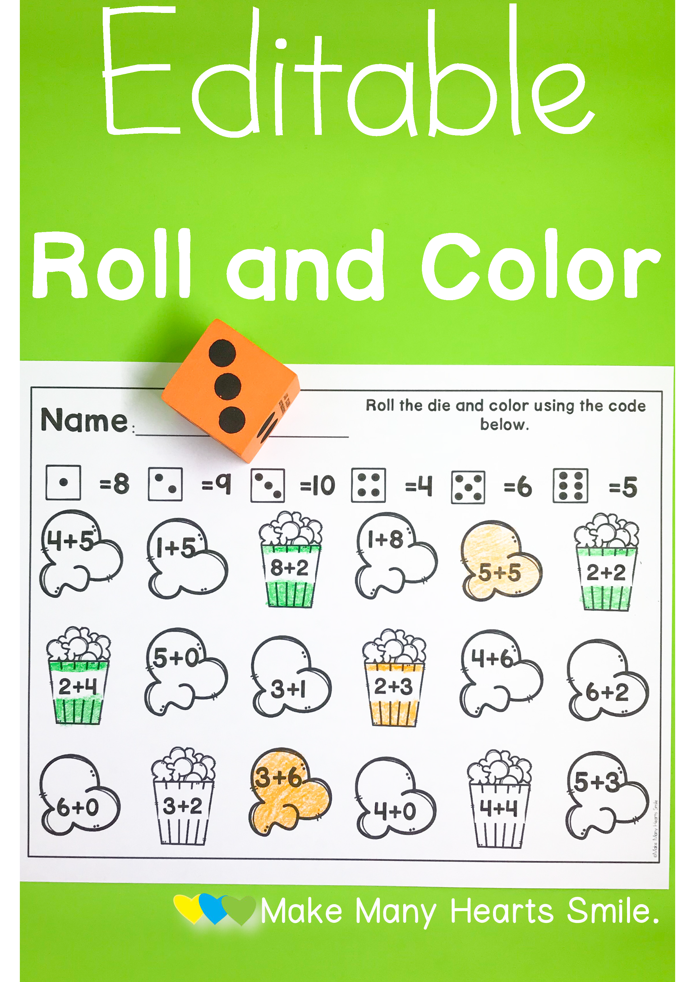 Addition Color By Code Popcorn Themed Worksheets