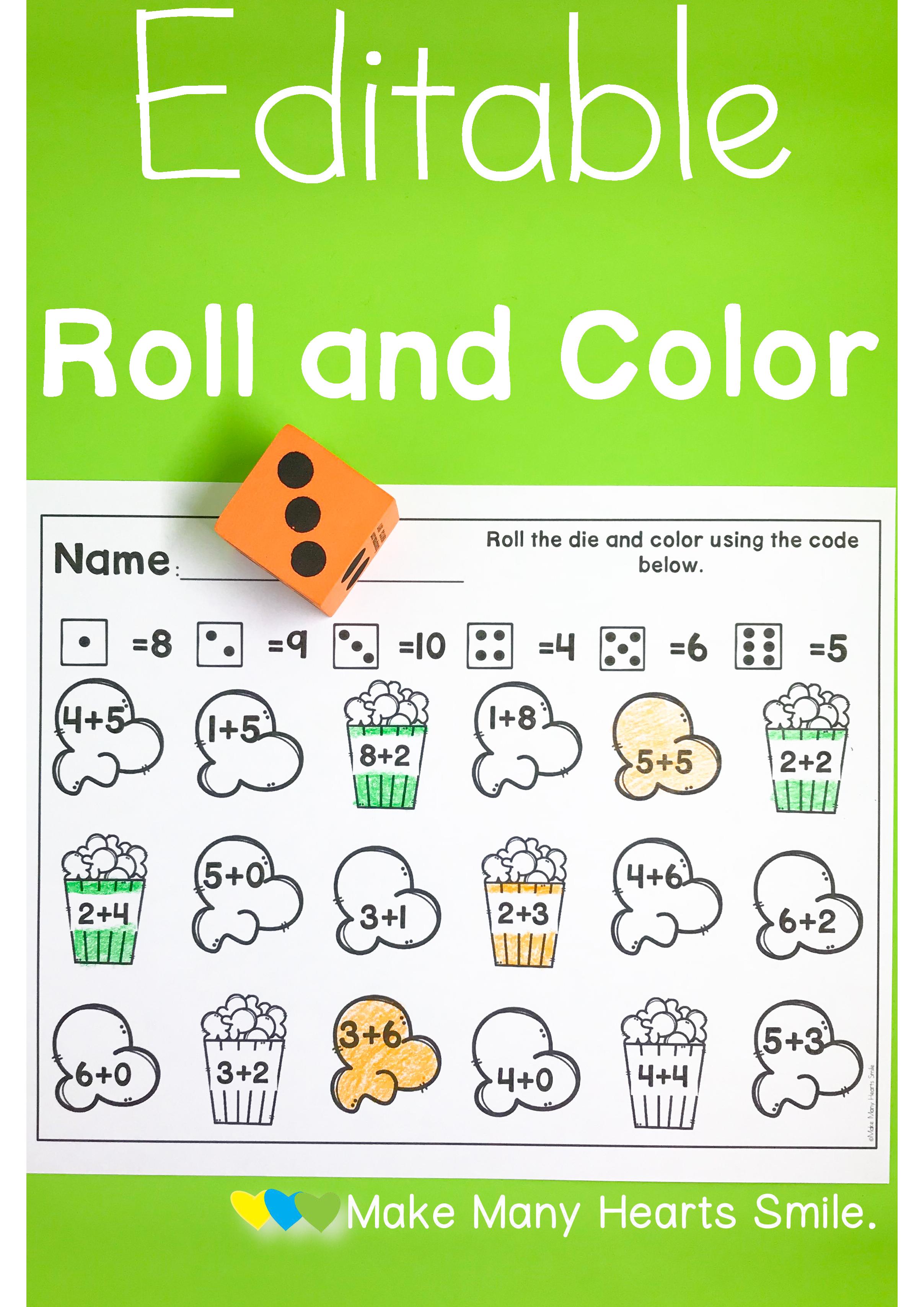 Editable Roll and Dot: Popcorn | TpT Math Lessons | Pinterest ...