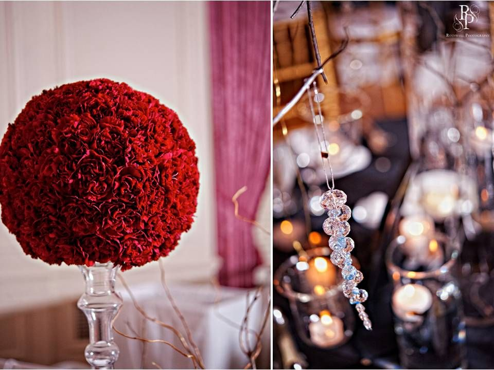 Wedding Topiary Ideas Part - 27: High Wedding Reception Topiary With Dome Of Clustered Red Carnations