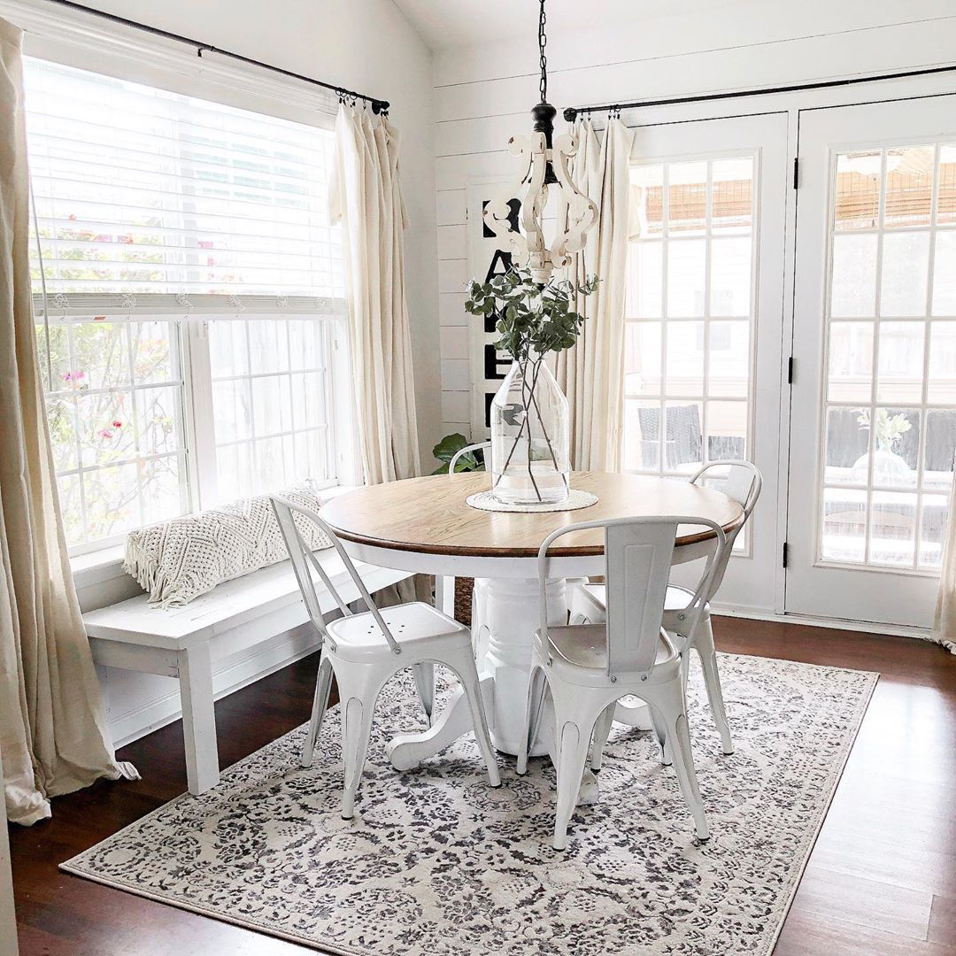 Our Distressed White Wood Chandelier Looks Perfect Above This