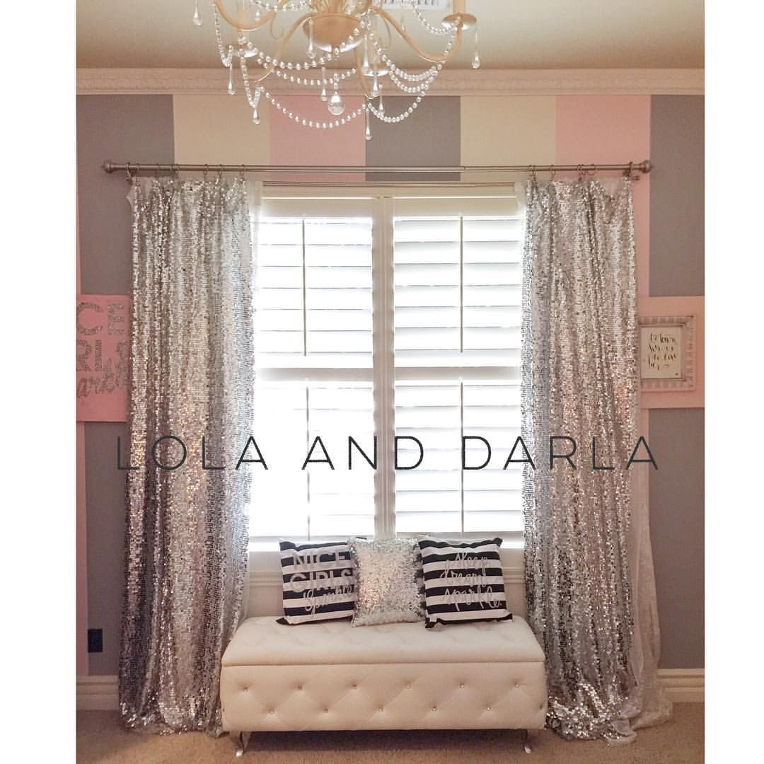 Lola Darla Sparkle Forever On Instagram We Take Our Sparkle Seriously In This Home So Much Fun Working On Miss Lola S Room Today Creation Silver Bedroom Sequin Curtains Glam Room