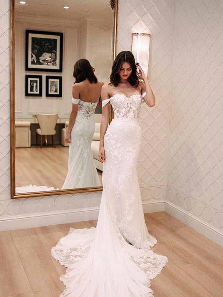 » Charming Mermaid Off the Shoulder White Lace Long Wedding Dresses with Court Train, Beach Wedding Dresses WD0717008
