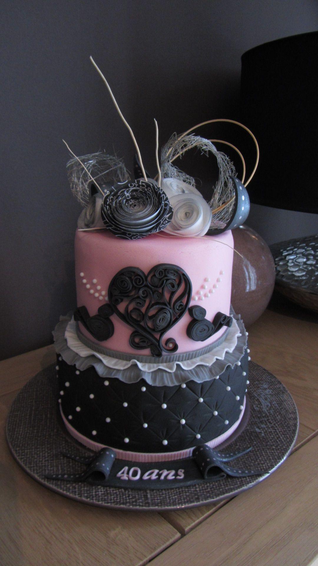 Gâteau Anniversaire 40 Ans De Mariage Pâte à Sucre Avril 2015
