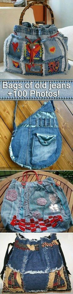 100 bags of old jeans