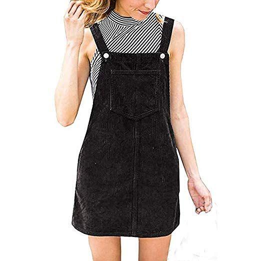 9d5d82fbee6 Women Corduroy Straight Suspender Dress Ladies Sleeveless Solid Mini Bib  Overall Pinafore Casual Pocket Party Dress (Black