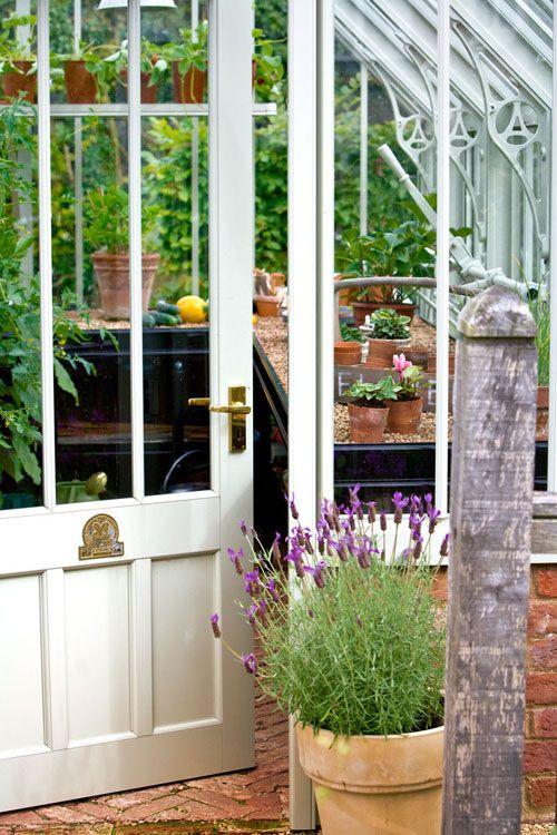 National trust door on Hidcote Greenhouse