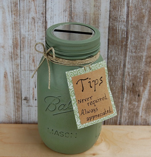 Coin Jar Tip Jar Spa Tip Jar Bakery Ice Cream Shop Tip Jar 16 Colors Mossy Green Shown Quart Tip Jars Coin Jar Jar