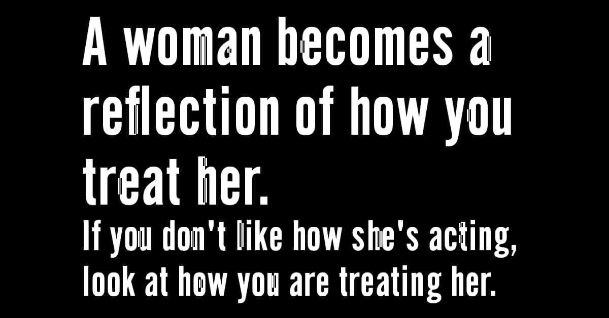 A woman becomes a reflection