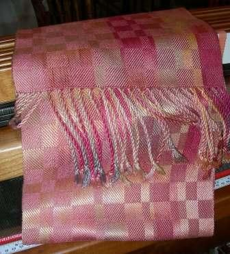 Handwoven silk scarf, hand painted with natural dyes