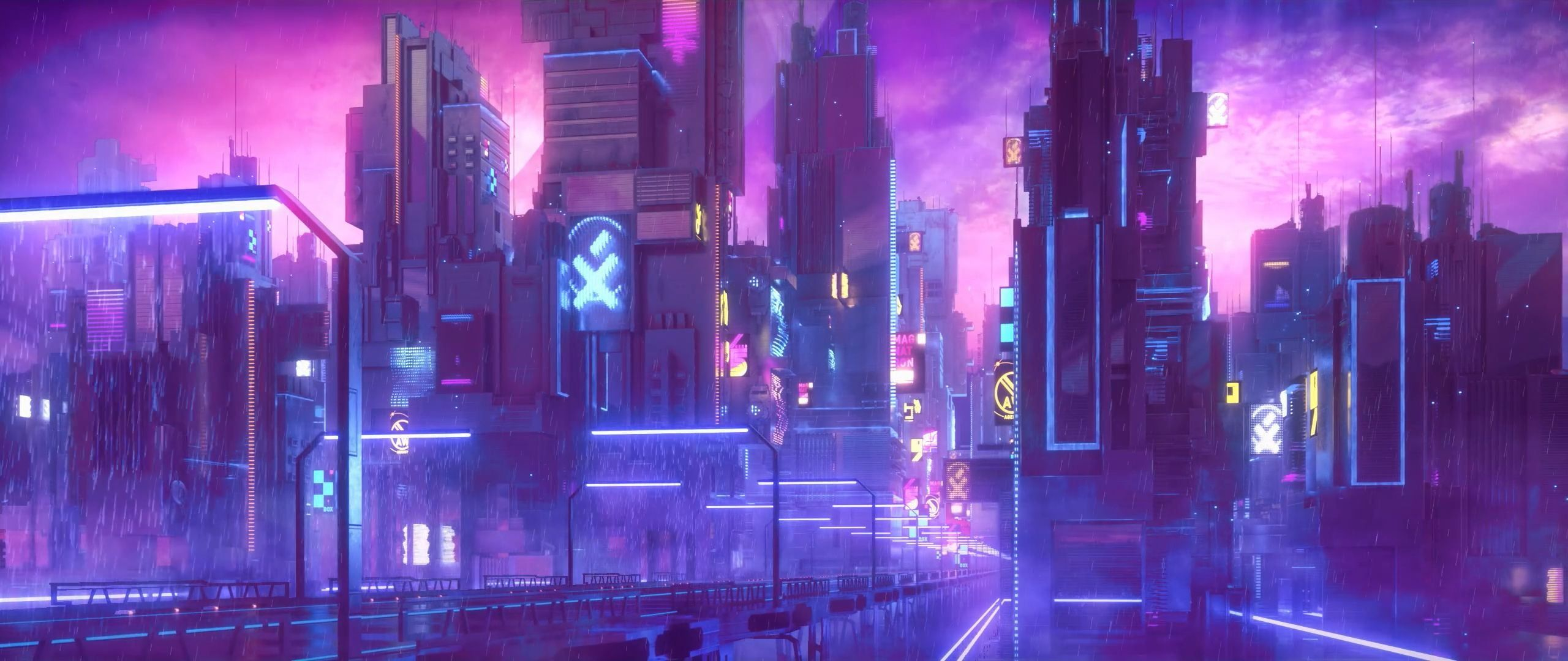 city animated digital wallpaper cyberpunk neon 2K