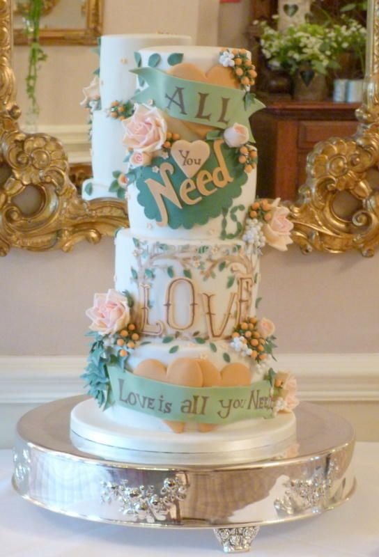 Autumnal All You Need Is Love Wedding Cake Cake By