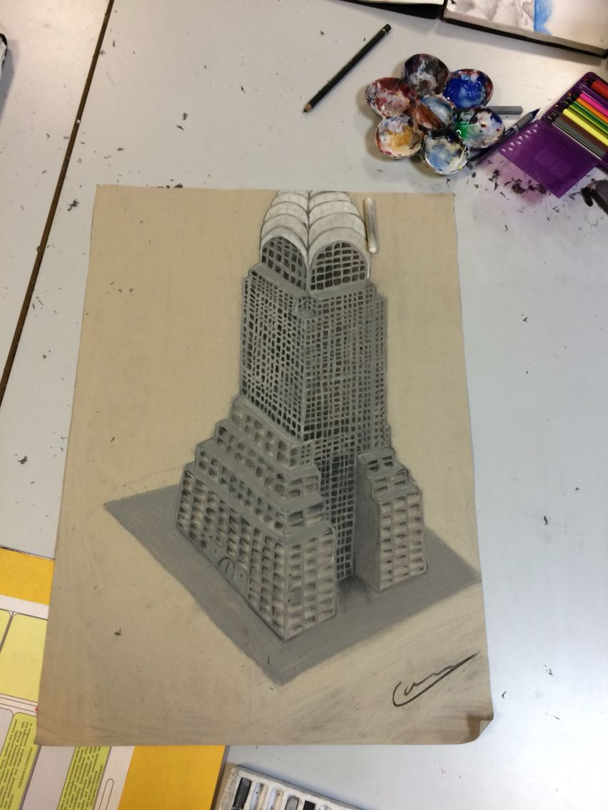 Charcoal study for cityscapes project