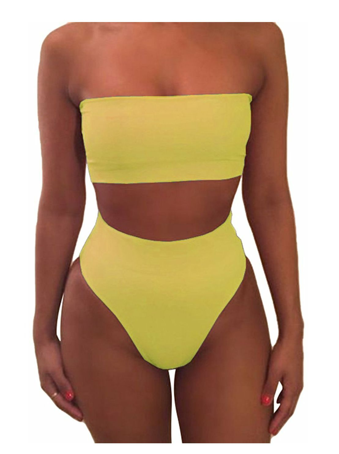 0a52b8093c9 Two Piece Tube Top Bikini | Casual | Tube top bikini, Swimwear, Two ...
