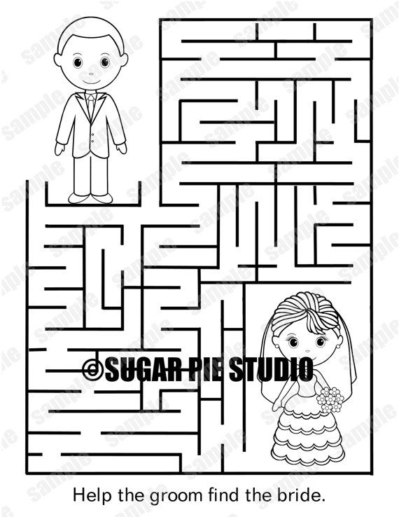 Instant Download Printable Wedding Coloring Page Activity Maze Etsy In 2020 Coloring Books Wedding Printables Coloring Pages