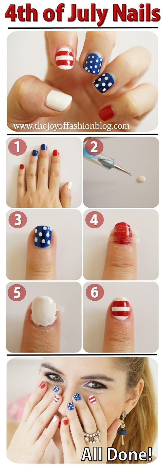 4th of July Nails Tutorial -- Easy and cute! | nails | Pinterest ...