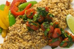 Recipe for Crispy Wasabi Almond Crusted Fish with Garlic Blistered Tomatoes and a Snappy Vegetable Sauté