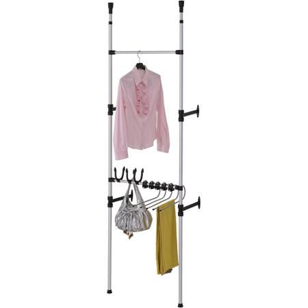 Walmart Clothes Hanger Rack Delectable Modern Telescopic 3Tier Clothesjeans Rack Metallic  Closet Ideas Decorating Inspiration