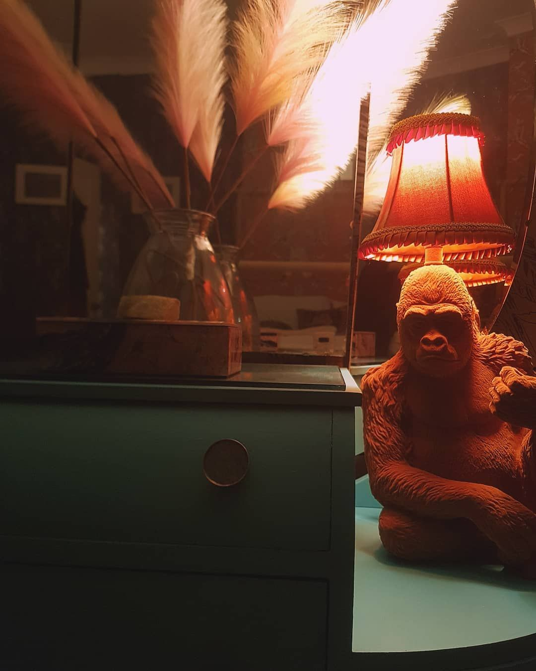 hi! we've had a long day of painting and wallpapering our new dalmatian staircase and doors 😴 however the lighting isn't good enough to show everyone properly sooo.. here's our dresser and orange gorilla 😙 #interioraccount #uniqueinteriors #maximalism #yourlayeredhome #rentedhome #rented #myrentedhomeshare #loveyourrented #diy #interiors #interior #maximalist #maximalistinteriors #diyhome #homeaccount #homedecor #homestyle #abigailahern #home #homesense #bedroom #upcycle #upcycled