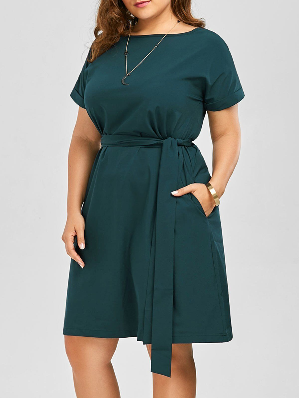 Plus Size Belted Knee Length Dress With Pockets Women Clothes Summer  Sexy O Neck Dress Vintage Office Work Wear, Dark Forest Green / XXL 1