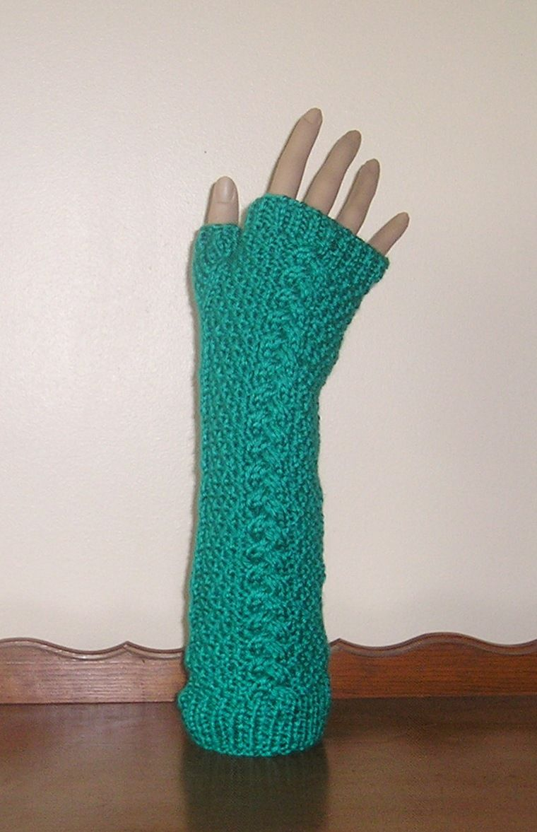 Hand Knitted Fingerless Gloves - Herringbone Cable Pattern - Elbow ...