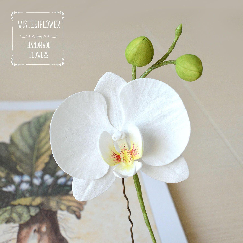 Wedding Hair Pin White Orchid Hair Pin Beach Wedding White Flower