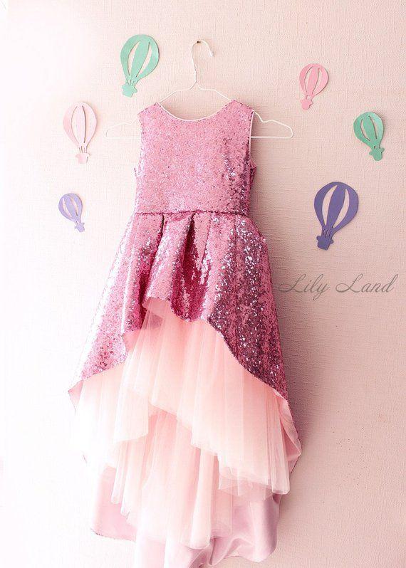 6ce9a631041 pink girls dress sparkling girl dress girls glitter dress pink baby dress  asymmetric dress handmade