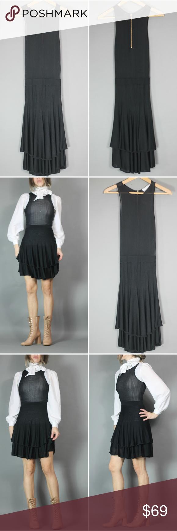 Alc black sheer knit dress gorgeous sheer ruffle dress by alc