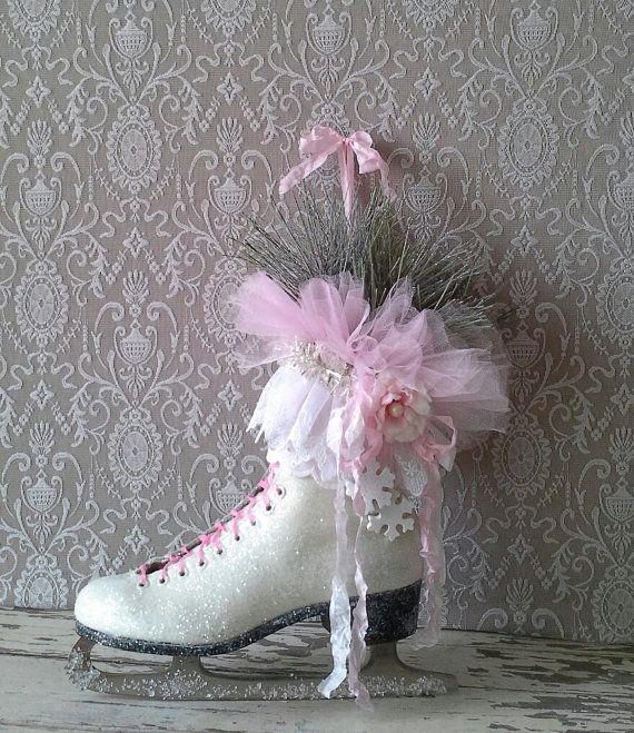 Christmas Ice Skating Rink Decoration: Pink Ice Skate, Winter Ice Skate, Holiday Decor, Christmas