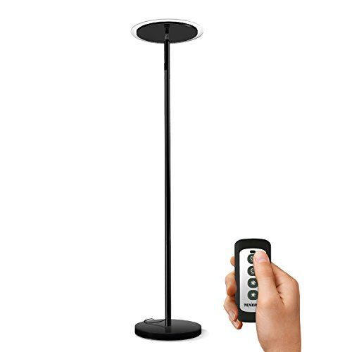 Tenergy Torchiere Dimmable LED Floor Lamp, Remote Control.