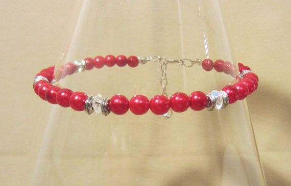 Red Pearls & Clear Crystals Bead Anklet Handmade by Pizzelwaddels