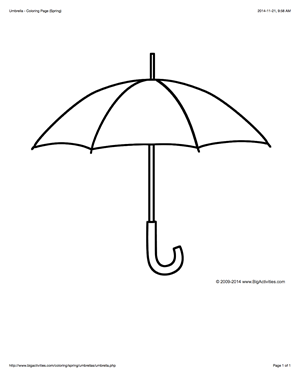 Coloring Page With A Large Umbrella To Color Umbrella Coloring Page Umbrella Template Umbrella