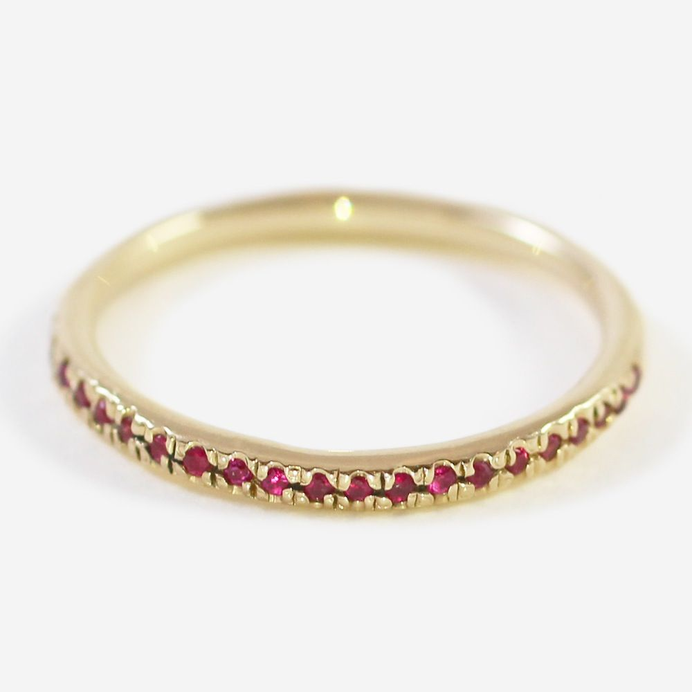 Image of 14K. Pavé Ruby Half Eternity Band // Lauren Wolf