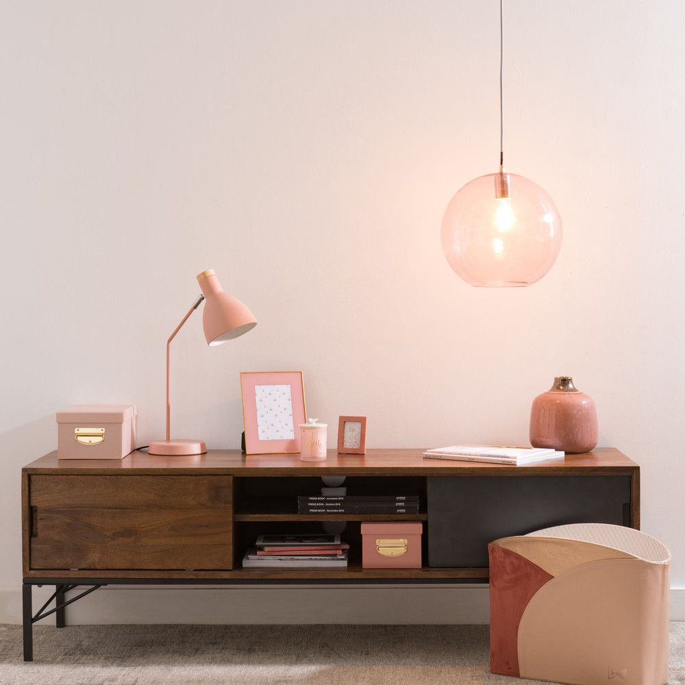 Suspension Boule En Verre Teint Rose Lighting Pinterest  # Table Tv D'Angle En Verre Design Transparent