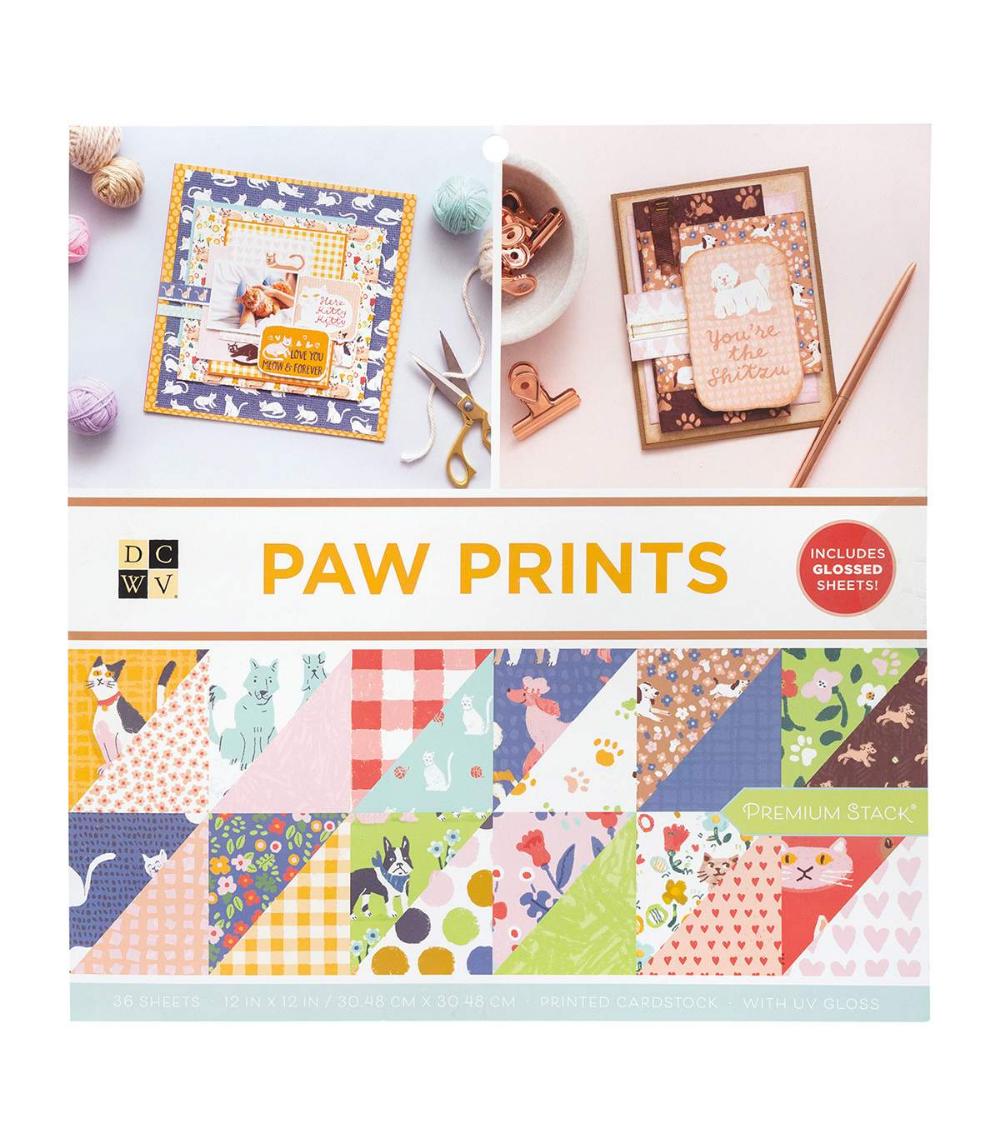 Dcwv 12x12 Stack Paw Prints Joann Paw Print Paper Craft Projects Prints