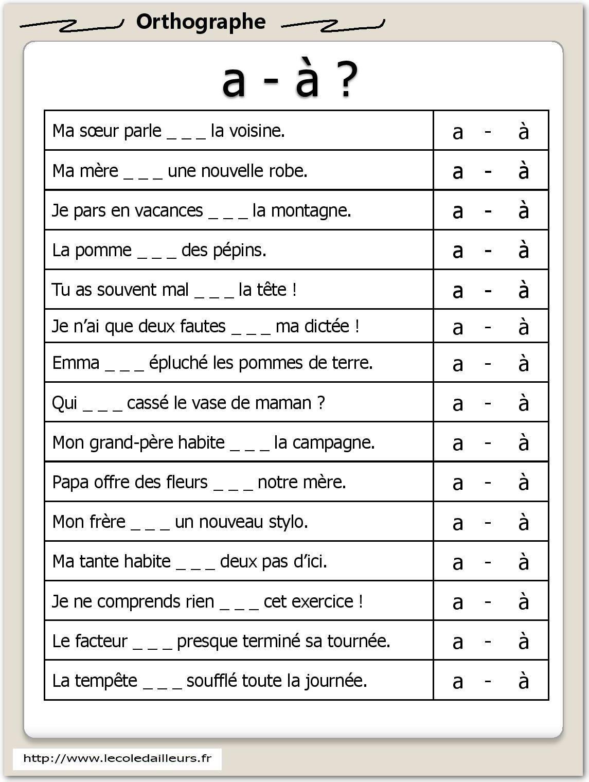 Orthographe Archives - L'école d'Ailleurs | Exercices orthographe, Exercice francais ce2 ...