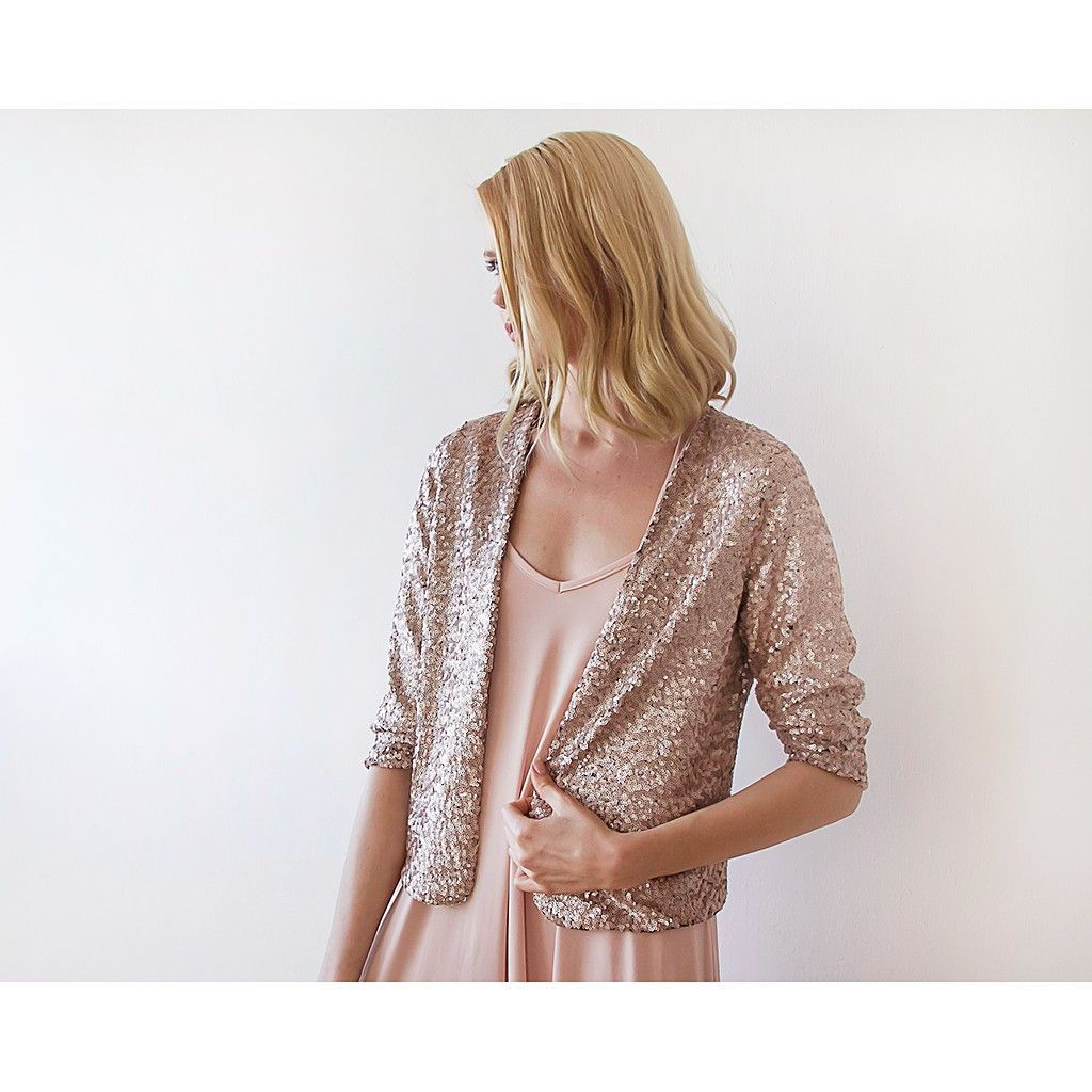 Sequin Pink Bridal Jacket Long Sleeves Sparkling