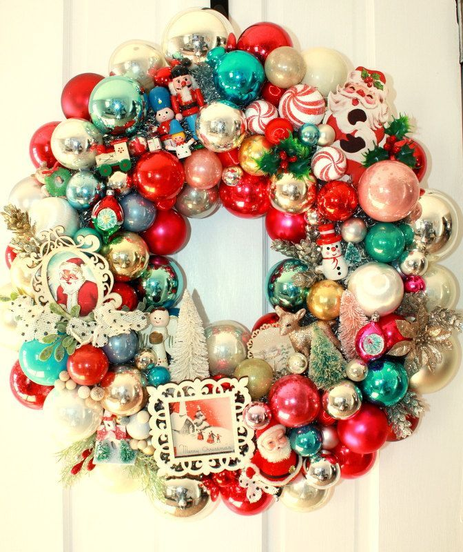 Shiny brite wreath, Vintage ornament wreath, glass ball wreath ...