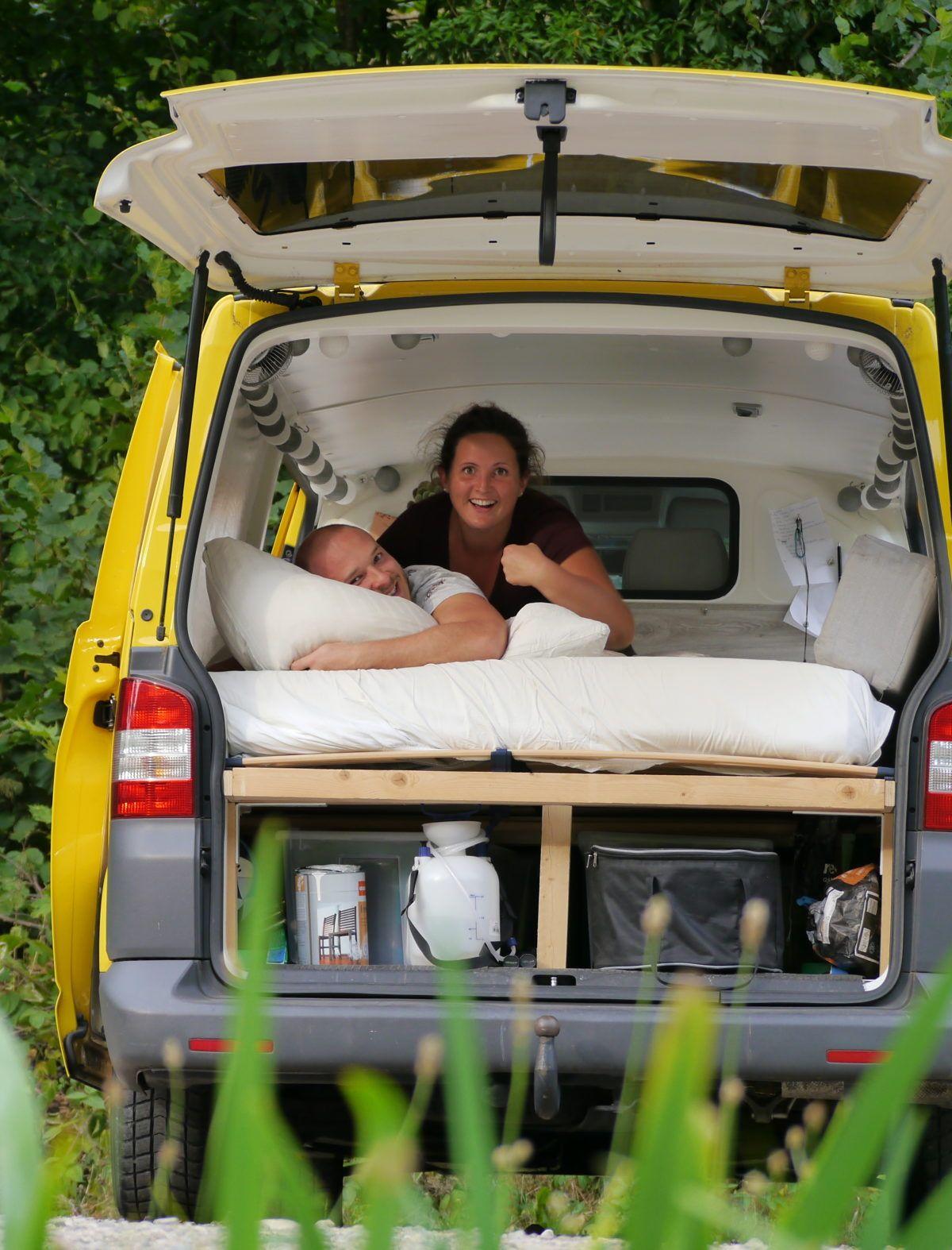 vw t5 camper ausbau einfaches bus bett bettrahmen bettgestell van id al. Black Bedroom Furniture Sets. Home Design Ideas