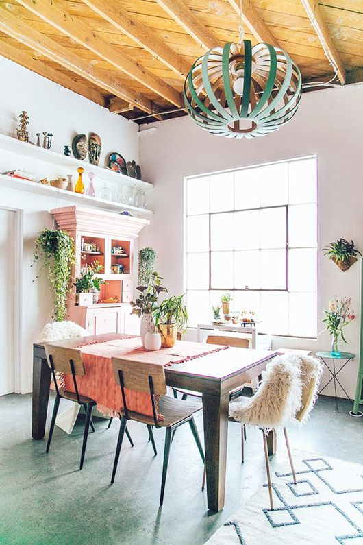 justina blakeney uses dashes of minty green in her lovely new studio space via west elm / sfgirlbybay