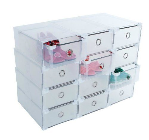 KLOUD City ® 3 Clear Shoe Storage Box Container with Metal Brim and Connectors