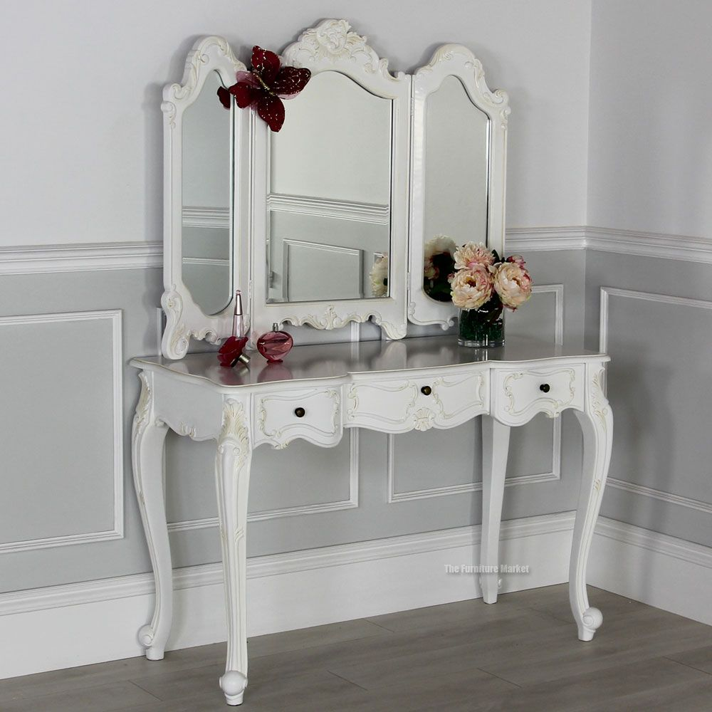 French Chateau White Dressing Table With 3 Way Mirror