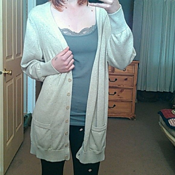 Sparkly Oversize Cardigan w/Pockets Beige gold shimmer long sleeve tunic cardigan in women's. Two front pockets, deep v neckline. In great  condition. Size 3x, 55% cotton, 38% polyester, 7% metallic. a.n.a Sweaters Cardigans